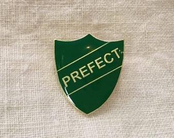 Enamel prefect badge pin award - private boarding school green, Hogwarts Harry Potter Slytherin