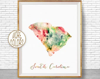 South Carolina Map Art Print South Carolina Art South Carolina Print Map Print Map Poster Watercolor Map Office Poster ArtPrintZone