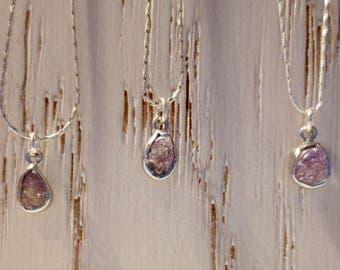 Rough Pink Diamond Necklace  ~ A rare Genuine Raw Conflict Free Diamond