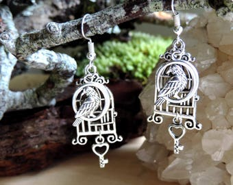 """Earrings""""bird cage"""": cage, bird in a circle, silver key"""