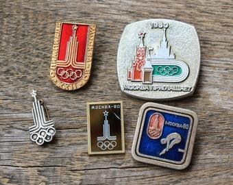 Olympics USSR gift for him Enamel pin set Soviet badge gift idea mens gift for boy soviet Vintage moscow 1980 rare pins retro Odessavintage