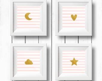 Star Cloud Moon Heart Nursery decor - Printable Nursery Art - Set of 4 Poster - Baby Room - Wall art Kids - Instant Digital print - Pink