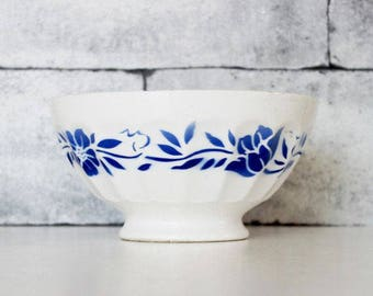 French Coffee Bowl, Blue and White Ceramic Bowl , Floral Decor Bowl, Rustic Bowl, Shabby Chic Kitchen Decor, French Country Cottage, C583