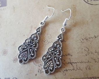 Filigree Drops-Earrings ~ Silver Colors ~