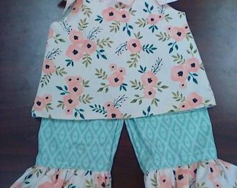 A-line dress set with ruffle pants