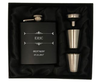 Personalized Groomsman Flask Gift - Groomsman Flask Kit - Bridal Party Gifts - Gifts for Wedding Party - Hip Flask