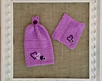 Handmade Knitted Hanging Hand Towel/ Dishcloth Set - Lavender