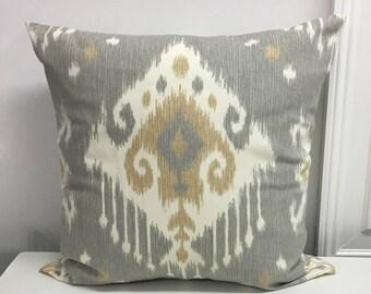 Zipper pillow covers Ikat pillow covers Decorative Pillow Throw pillow cover lumbar Beige Gray Pale Gray 18x18 20x20 22x22 24x24 26x26