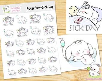 Sick Day Sugar Bun Bunny Emotions Planner Stickers