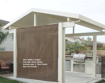 Custom Sized Sun Shade Rod Pocket Panel with Grommets for Patio,Awning,Window Cover, Instant Canopy Side Wall or Pergola -Mocha Brown