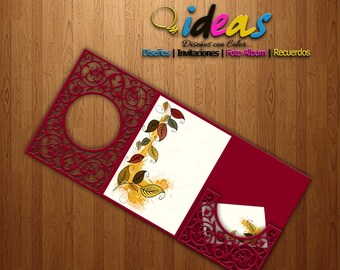 Invitation Wedding Card, invitation XV Años, wedding invitation, laser cut, files (SVG, DFX, AI, Corel), Laser cut, Silhouette cameo