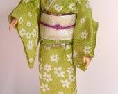 RESERVED doll kimono green kimono set for Silkstone Barbie dolls and similar dolls