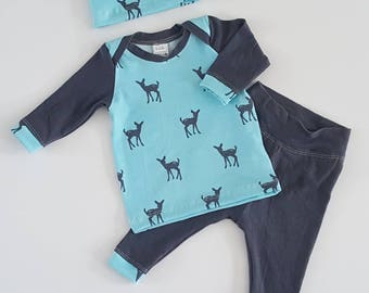 Boy newborn outfit, take home baby boy outfit, spring baby boy clothes,oh deer baby boy outfit,hospital clothing set,blue and gray baby set
