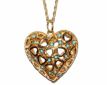 VINTAGE - Turquoise Heart Necklace