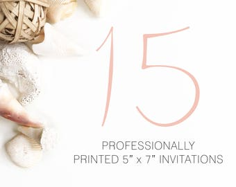 15 Professionally Printed Invitations White Envelopes Included And Free US Shipping, Printed Invitations