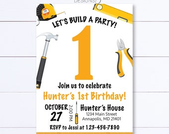 Tools Birthday Invitation, Tools Party Invitation, Tools Party, Construction Birthday Invite, Construction Party, Tools Invitation