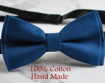 Unisex Men 100% Cotton Quality Petrol Blue Green Solid Color Handmade Bow Tie Bowtie Craft Wedding Party