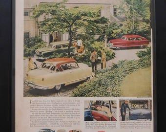 Nash Classic Car Ad , Vintage Ad, 1951, Garage Decor, Man Cave Decor, Illustration B. Tobey