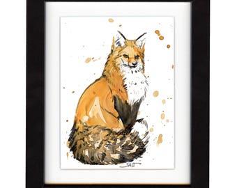 fox art print, red fox, fox artwork, fox gift idea, fox art, fox decor, fox wall art, fox nursery, wildlife art, art print, saltwatercolors
