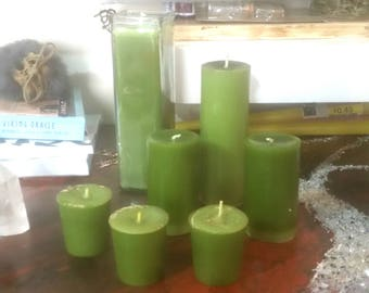 Fertility and Prosperity Candles - handmade spell candles upcycled recycled wax eco friendly pear scented herb candles