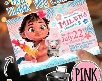 BABY MOANA INVITATION + Free Thank you card. Moana Birthday Invitation. Moana Party Supplies. Girl Moana Party. Baby Moana Pink