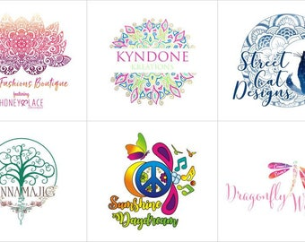 Yoga Logo, Mandala Logo, Bohemian Logo, Logo Design, Custom Logo Design, Unique Logo Concept, Ooak Logo, You own the Ownership, 3 Concepts
