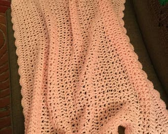 Pink hand crocheted baby blanket..beautiful gift for a new mom expecting a baby girl! 30 x 35 inches..nice size!