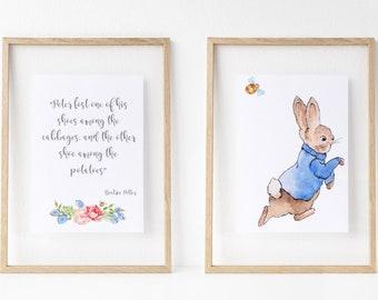 Peter Rabbit set of 2 high quality prints, a4 Peter Rabbit Prints