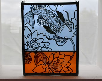 Painted Stained glass. Japanese Style Fish and Water Lilies. Beautiful pond. Window Art