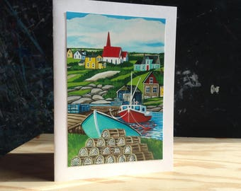 5X7 Greeting Card- Peggy's Cove Village,NS