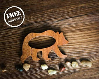Baby Wood Bear Teether, Organic Baby Toy, Wooden Activity Toys / Baby Teether / Baby Registry Gifts, Wooden Teether Toys