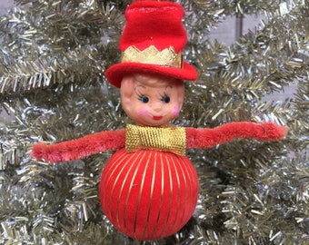 Vintage Elf Christmas Ornament with Top Hat