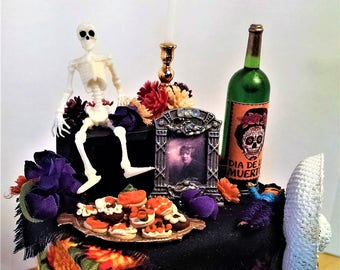 Miniature Dia de los Muertos Alter, Day of the Dead Alter, 1:12 Dollhouse miniature