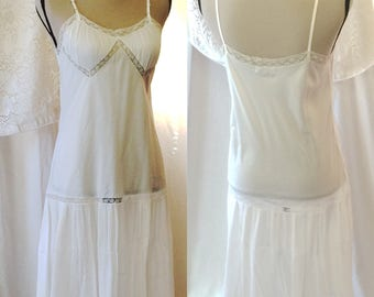 Vintage 1950's Crisp White Chemise by Barbizon