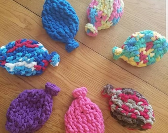 Set of 10 assorted, crocheted, water balloons.  Includes free mesh bag for storage and washing.