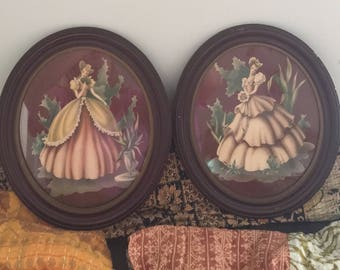 Vintage 1940's turner southern Belle victorian water color //turner set of two  Victorian pictures//victorian paintings//antique paintings//