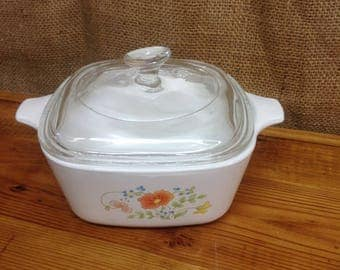 Vintage Corning Ware Wildflower Bowl with Pyrex Lid