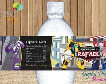 Transformers Birthday Water Bottle Label / Rescue Bots Birthday Water Bottle Label / water bottle / boy birthday / Etiqueta agua