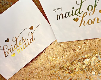 Bridal Party Cards * Bridesmaid * Maid of Honor * Gold Foil * Rose Gold