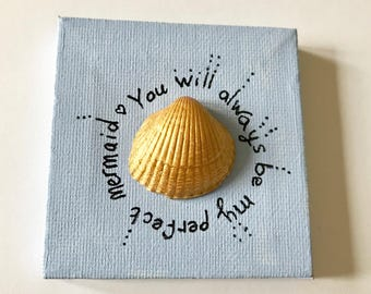 Personalised Valentines Day Card // Mini canvas // mini heart painting // Anniversay Card // Wedding card // mermaid card // shell card