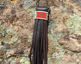 Beaded Fringe Long Necklace