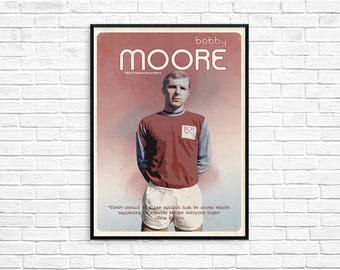 Bobby Moore West Ham England World Football Legend Print Picture Art Poster Retro Style Print