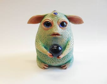 Freaky Fortune-Teller: unique hand-made clay figurine of creepy lovely monster