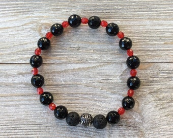 Essential Oil Diffuser Bracelet, Aromatherapy Bracelet, Black Onyx, Lava Diffuser, Includes 1ml EO Sample Blend, Ships FREE in US