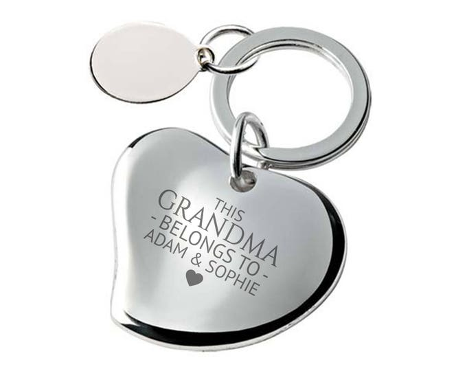 Engraved This GRANDMA belongs to keyring SILVER PLATED, personalised contoured heart keyring - 148-BE2