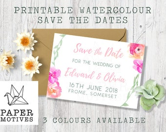 Printable Digital Save the Date - Watercolour pastel floral wedding invite
