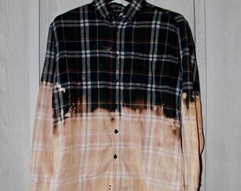 Hand-Bleached Flannel Shirt