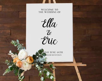 Printable Wedding Welcome Sign, Calligraphy, Customize the names of the Bride & Groom, DIY Printable Reception Chalkboard Sign