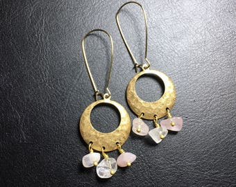 brass earrings, gemstone beads earrings, rose quartz beads earrings