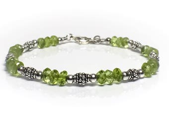 Gemstone Peridot Bracelet, August Beaded Bracelet, Beaded Stretch Bracelets For Women